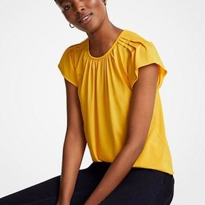 Ann Taylor Pintucked Flutter Sleeve top Yellow